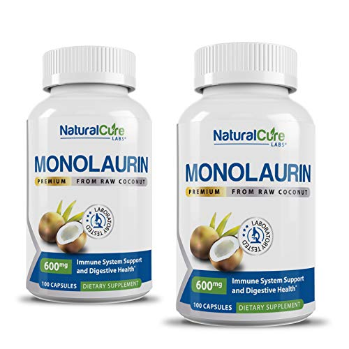 Natural Cure Labs Premium Monolaurin 600mg - 2 Pack, 200 Capsules