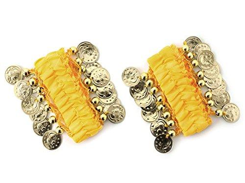 MBW Belly Dance Handkette Armband Handschmuck Armbänder mit goldfarbenen Münzen (Paar) in gelb