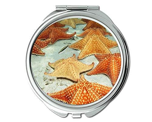 Mirror,makeup mirror,tropical fish theme of Pocket Mirror,portable mirror 1 X 2X Magnifying