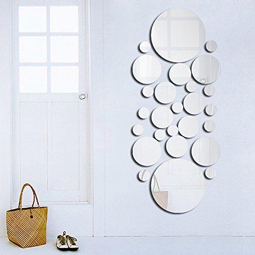 Blusea Anself Miroirs Muraux Rond, 26 pcs 3D Miroir Autocollant Stickers avec Adhésif pour Chambre Salon Décoration d'intérieur DIY Art