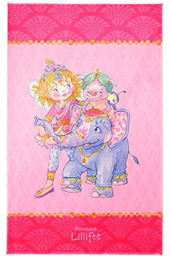 Prinzessin Lillifee Kinderteppich Weich und Soft für Mädchen, mit Elefant und Schwein, Größe 140x200 cm, Farbe Pink, Öko-Tex zertifiziert für Kinderzimmer und Babyzimmer