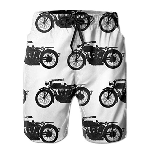 Men's Cool Crazy Antique Motorcycle Pattern Short Swim Trunks Best Board Shorts for Sports Running Swimming Beach Surfing Quick Dry Breathable Bathing Suits Beach Holiday Party Swim Shorts