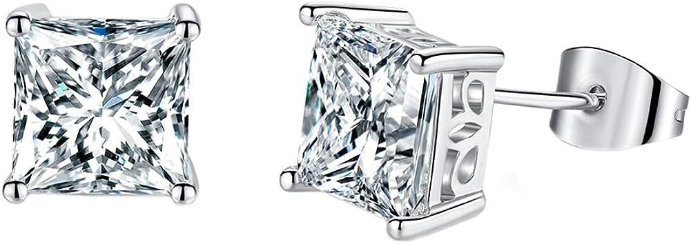 14K White Gold Stud Earrings for Women Men Princess Cut CZ Stud Earring for Women Teen Girls Hypoallergenic Cubic Zirconia Earrings Studs Jewelry