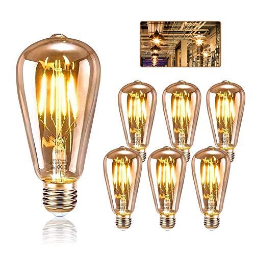 Edison Glühbirne E27, KIPIDA Retro Glühbirne 4W LED Vintage Beleuchtung ST64 Ideal für Retro Beleuchtung im Haus Café Bar Musikzimmer Restaurant Hochzeit Innenbereich Deko usw, Amber Warm 6 Stück