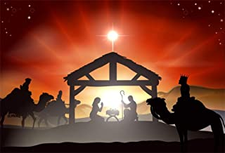 LFEEY 10x7ft Christmas Nativity Scene Backdrop for Photography Bible Story Holy Family Mary and Joseph Bethlehem Christ Child Birth of Jesus Manger Silhouette Background Photo Studio Props