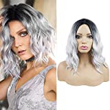 Short Bob Wigs for Women 14Inch Synthetic Hair Shoulder Length Curly Wavy Middle Part Heat Resistant Fiber Hair Wigs Gray Wigs Natural Looking Cosplay Party Wigs with Wig Caps(Gray)