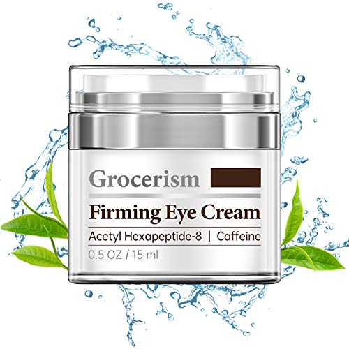 Grocerism Firming Mens Eye Cream with Acetyl Hexapeptide-8 and Caffeine for Dark Circles, Puffy Eyes, Under Eye Bags and Fine Lines, Fragrance-Free, 0.5 oz