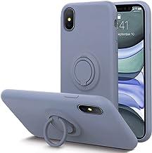 KUMEEK for iPhone Xs/X Case Fingerprint   Kickstand   Anti-Scratch   Microfiber Liner Shock Absorption Gel Rubber Full Bod...