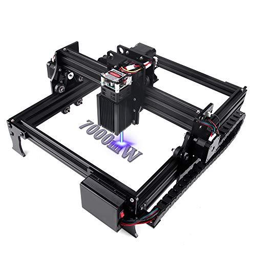 7000mW Fresadora CNC, grabador láser grabador con área de trabajo de 20X29 cm Súper fácil de instalar y operar para principiantes para tallar y cortar madera plástica (7W)