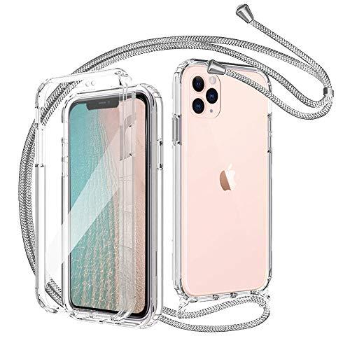 ToDo eu Handykette Handyhülle mit iPhone 11 Pro Max 360-Grad-Ganzkörper Schutzhülle Hülle, Eingebauter Displayschutzfolie, Durchsichtig Handyhülle Rundumschutz mit Bumper Cover