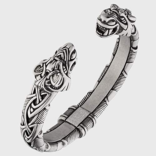 Viking Bracelet - Adjustable Pewter Norse Arm Ring - Scandinavian Nordic Mythology Strong Handmade Pagan Jewelry - Bracelet with Fenrir Wolf Head Bangle Ring Cuff for Men Women