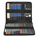 51pcs Matita colorata, schizzo Disegno da colorare matite set con il sacchetto di immagazzinaggio