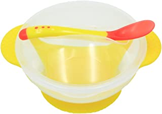 ROSENICE Baby Suction Bowls for Learning Eatting Toddler Spill Proof Feeding Set Solid Feeding Bowl with Lid and Snap-in Spoon Perfect To Go Storage(Yellow)