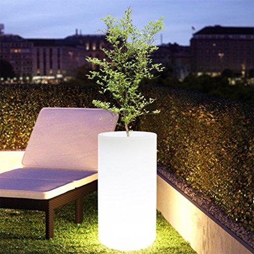 Augrous 16 kleurverandering, oplaadbaar, LED, cilindrische bloempot, kunststof, waterdicht met afstandsbediening