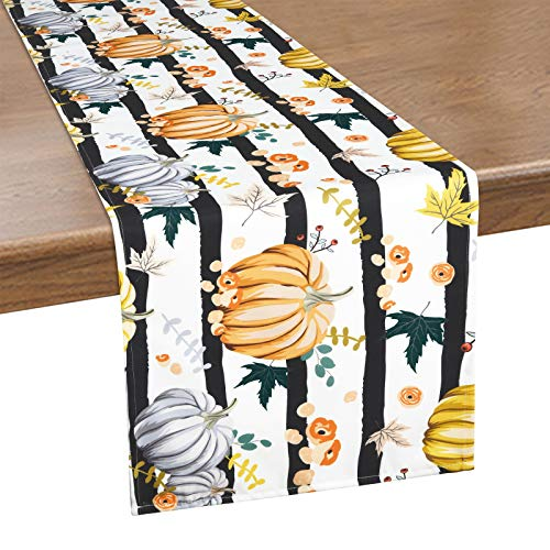 Alishomtll Thanksgiving Table Runner, Orange Watercolor Pumpkin Table Runner, Black and White Striped Waterproof Table Runner for Autumn, Fall, Catering Events, Indoor and Outdoor Parties