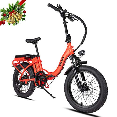 Rattan Folding Electric Bike 500W 48V 13AH Women's Step-Through LCD Display 3.0 Fat Tire Ebike for Adults All Terrain Foldaway 7 Speed Sport Commuter Snow Bicycle Off Road Dirt Bike Couple Models
