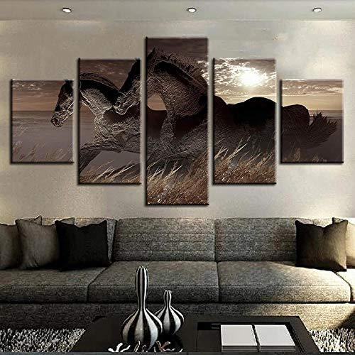45Tdfc Cuadro En Lienzo 5 Piezas Pintura Caballos de Carreras Abstractos Moderno Fotos Material Te Jido No Tejido Arte Pared DecoracióN HogareñA ImpresióN
