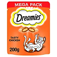 Cats go mad for the irresistible taste of Dreamies cat treats. Deliciously crunchy on the outside, soft on the inside; cats simply can't resist the great taste of Dreamies treats for cats. So go on, give the bag a shake and watch your cat come runnin...