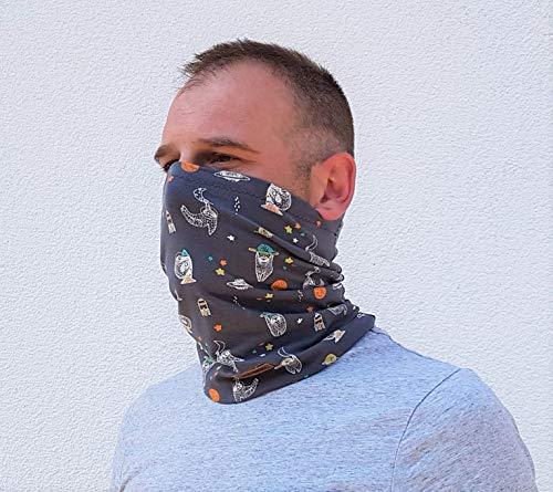 zauberBLAU Multifunktionstuch MaskenLoop Schal aus Biojersey für Herren Faultier grau
