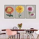 ganlanshu Pintura sin Marco Hermosa Flor de crisantemo Pared Arte nórdico Lienzo impresión Interior póster decoración del hogar ZGQ3245 60X90cmx3