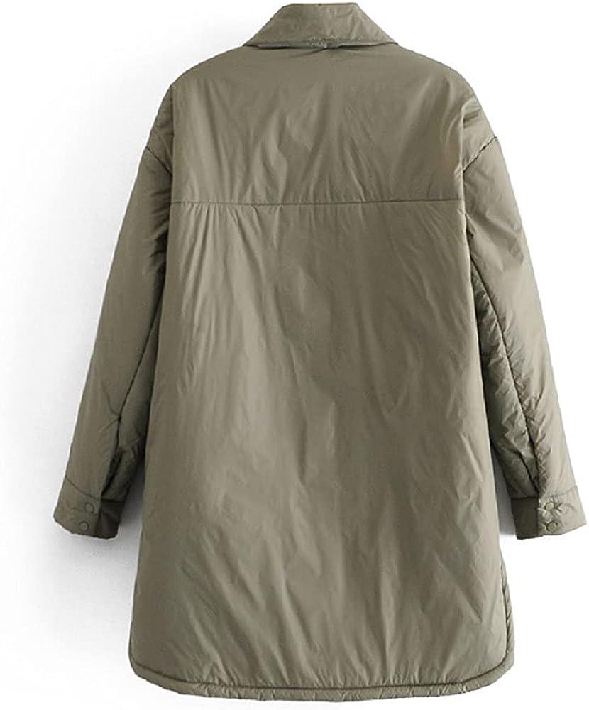 Women's Winter Lightweight Down Coat Quilted Long Length Button Down Puffer Jacket