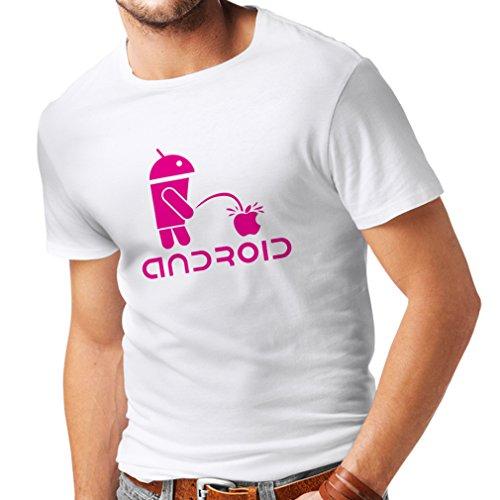 Camisetas Hombre el Divertido Robot y la Manzana - Citas Divertidas, Regalos humorísticos (XXXXX-Large Blanco Magenta)