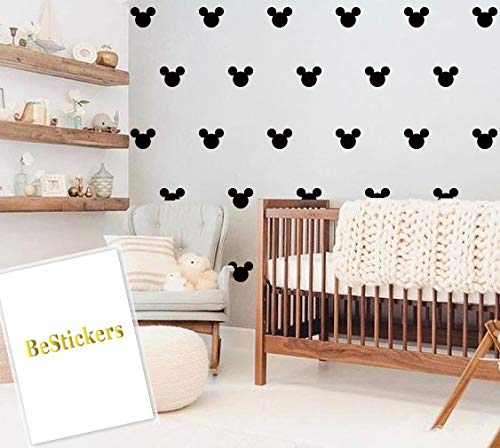 BeStickers Mickey Mouse Head Wall Decals [Set of 160   2x1.5 inch   Removable Wall Decals   Peel and Stick Decal  (Mickey Mouse Polka)