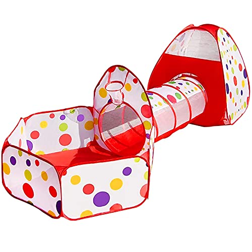 MAIKEHIGH interior / exterior túnel del juego y la tienda del juego de Cubby de Tubo Tipi 3 en 1 zona de juegos infantil para bebés Juguetes para niños BOLAS NO INCLUIDO