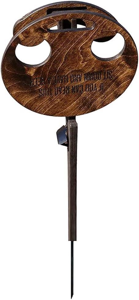 ISAKEN Mesa Redonda de Escritorio Mini de Madera fácil de Llevar, Copa de Vino y Soporte de Botella Plegable con Mesa Redonda de Mesa de Picnic de Madera para Playa, Picnic y Camping
