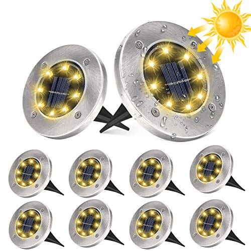 10 Stücke Solar Bodenleuchten Aussen, DUTISON Solarleuchten Garten mit 8 LEDs für Außen, 6000K IP65 Wasserdicht Led Solar Gartenleuchten, Solarlampen für Rasen Auffahrt Gehweg Patio Garden (Warmweiß)