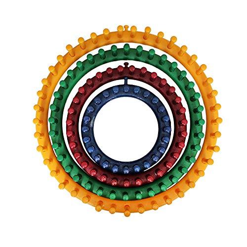 TOMYEER 4 Plastique Métiers À Tricoter Ronds avec 1 Aiguille À Tricoter Et 1 Crochet Parfait