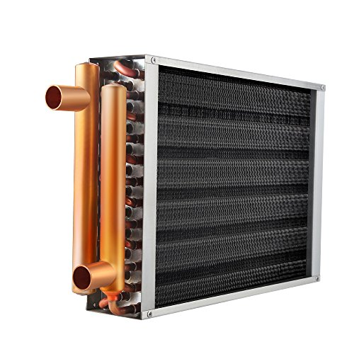 Water to Air Heat Exchanger 12x15-36x36 with Copper Ports for Outdoor Wood Furnaces, Residential Heating and Cooling, and Forced Air Heating (16x16)