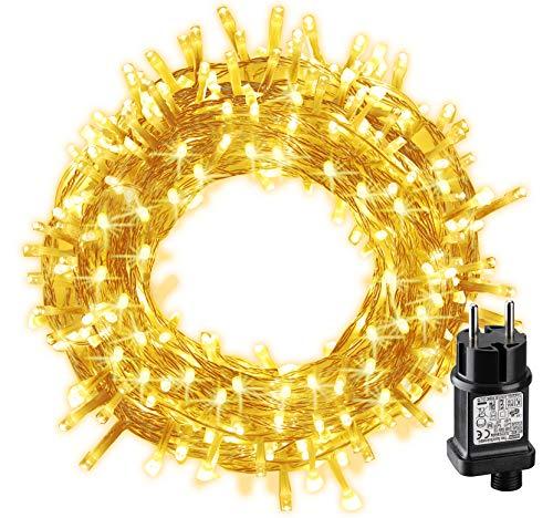 Lichterkette Strom, BIGHOUSE 100 LEDs 10M Lichterkette Außen Warmweiß, Wasserdichte IP44 für Schlafzimmer, Party, Hochzeit, Terrasse, Innen, Außen Dekoration
