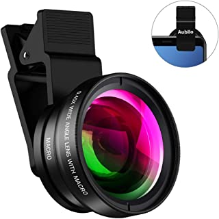 Aubllo Cell Phone Camera Lens 2 in 1 Clip-on Lens Kit 0.45X Super Wide Angle & 12.5X Macro Phone Camera Lens for iPhone X XR XS Max 8 7 6S Plus Samsung Android & Most Smartphones Black