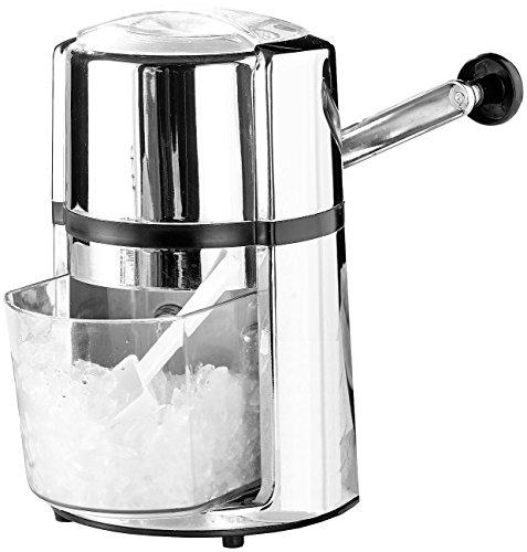 Rosenstein & Söhne Eiswürfelzerkleinerer: Stromloser Eiscrusher mit Handkurbel, Karbonstahl-Klinge, Chromelook (Eiswürfel-Crusher)