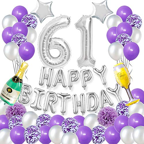 Happy 61ST Birthday Party Decorations Pack-Purple Silver Theme Happy Birthday Banner Foil Number 61 12inch Purple Confetti Balloons Purple and Silver Latex Balloons Purple Pertlfie