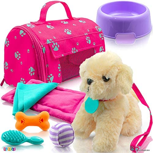 Play22 Plush Puppy Doll Set 9 PCS Baby Doll Accessories Puppy Dog Leash Carrier Bowl Bone Bed product image