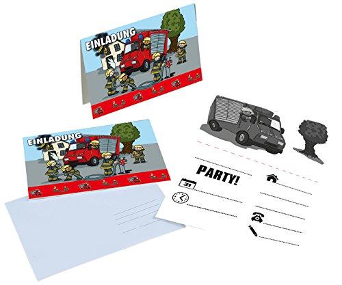 16-TLG. Einladungs-Set * Feuerwehr * für Mottoparty und Kindergeburtstag von TIB | mit 8 Einladungen und 8 Umschläge | Kinder Geburtstag Party Fete Set Jungen Einladungskarten Invites Fire Fighter