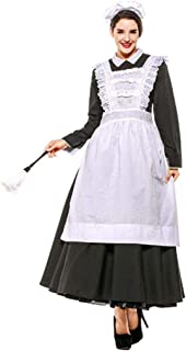 Sexy Adult Women 3PC Late Night French Maid Servant Costume Black&White French Maid Costume Halloween Party Long Dress