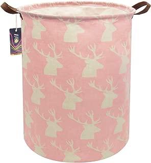 HKEC 19.7'' Waterproof Foldable Storage Bin, Dirty Clothes Laundry Basket, Canvas Organizer Basket for Laundry Hamper, Toy Bins, Gift Baskets, Bedroom, Clothes, Baby Hamper(Pink Deer Pattern)