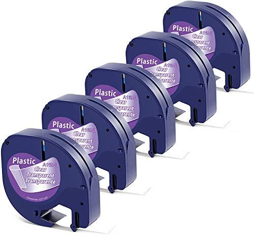 Aken kompatibel Etikettenband als Ersatz für Dymo Etikettenband Transparent Kunststoff, Dymo Clear Plastic 12mmx4m Letratag Bänder Durchsichtig 16951 S0721550 für Dymo LetraTag LT-100H LT100T XR XM