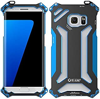 NEW R-just Armor King Stainless Steel Mobile Phone Cover Metal Case for Samsung Galaxy S7 Edge/G9350 Aviation Aluminum Cases - Blue