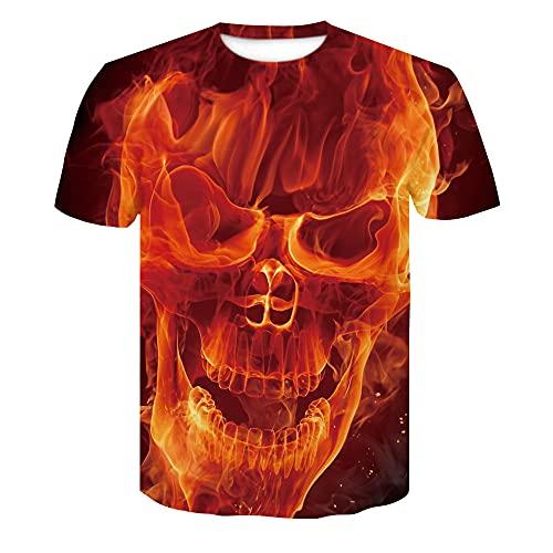 Deportiva Camisa Hombre Verano Personalidad Creativa 3D Impresión Hombre Camiseta Holgada Cuello Redondo Hombre Manga Corta Moda Coole Casual Hombre Casuales Camisa AE063 4XL
