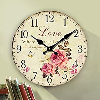 Eruner Rustic Floral Clock Clock, 12-inch Europe Country Style Romantic Sweet Roses Butterfly Shabby Chic Style Large Size Wall Clock Livingroom Bedroom Art Deco(Love,C-62)