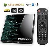 Android 9.0 TV Box 4GB RAM 64GB ROM, Topsion TP01 Android TV Box RK3318 Quad-Core 64Bits Dual WiFi 2.4G/5G Bluetooth 3D 4K Ultra HD H.265 USB 3.0 BT 4.0 Smart TV Box