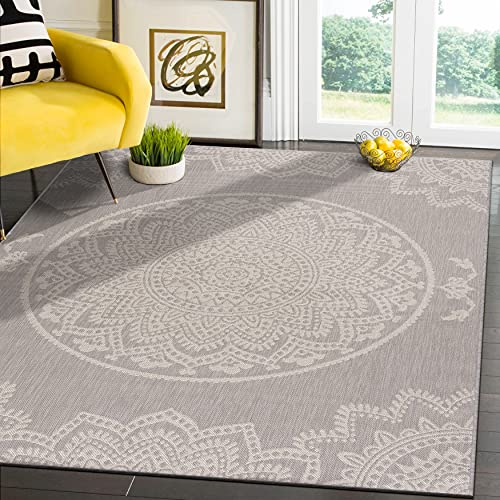 CAMILSON Outdoor Rug - Modern Area Rugs for Indoor and Outdoor patios, Kitchen and Hallway mats - Washable Outside Carpet (5x7, Medallion - Grey / White)