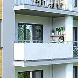 jarolift Brise Vue pour Balcon imperméable à l'eau, Protection Contre Les Regards, pour Balcon 300 x 90cm (16 œillets), Blanc crème