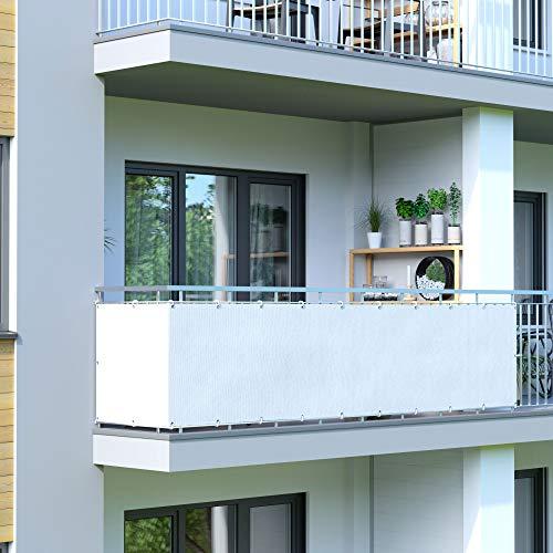 jarolift Balkonbespannung, Balkon Sichtschutz Windschutz Sonnenschutz Balkon-Verkleidung, Wasserabweisend 500 x 90cm (24 Ösen), cremeweiss