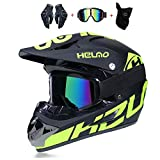 WLBRIGHT Adulto Juvenil Downhill Casco Regalos Gafas Gafas Máscara Guantes BMX MTB ATV Carrera de Bicicleta Casco Completo Casco Integral,A,S