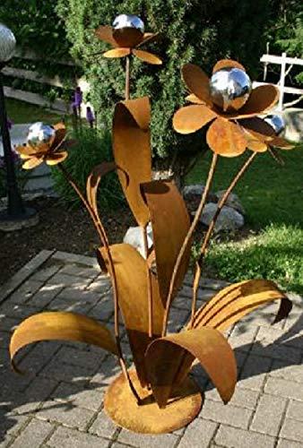 RDI XXL Blume 120cm Metall Gartendekoration Edelrost Edelstahl Kugeln